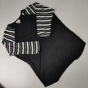 LuLaRoe Randy Raglan T Black & White Stripes Large